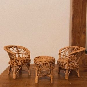 Vinyage Wicker Chair Set Table Doll Boho Decor